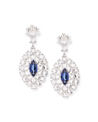 Rose-Cut Diamond and Blue Sapphire Drop Earrings