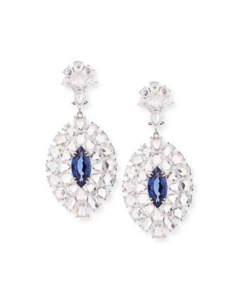 Rose-Cut Diamond and Blue Sapphire Drop Earrings