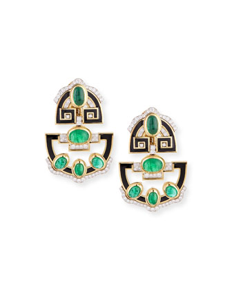 Enamel Inlay Earrings with Diamonds and Emeralds