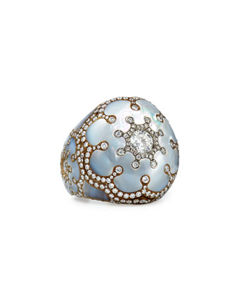 Mother-of-Pearl and Diamond Dome Ring
