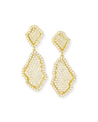 18k Pave Diamond Geode Inspired Drop Earrings