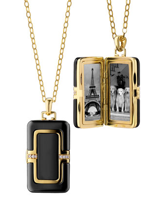 18k Ceramic Rectangle Locket with Diamonds, 32