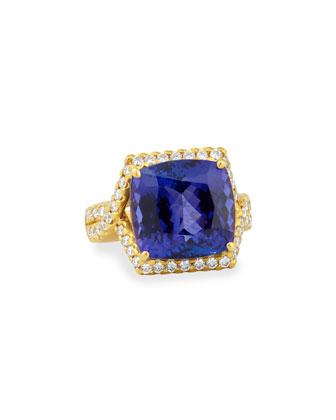 18k Tanzanite Cocktail Ring with Diamonds