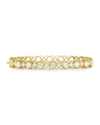 Yellow Gold Diamond Oval Bangle Bracelet