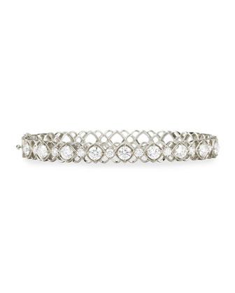 White Gold Diamond Oval Bangle Bracelet