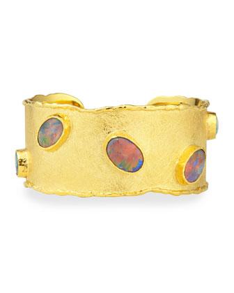 Gold Cuff with Australian Black Opals