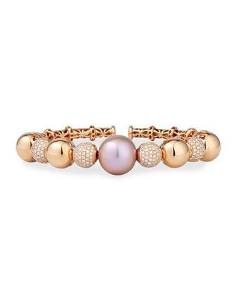 Rose Gold Pink Pearl Cuff with Diamonds