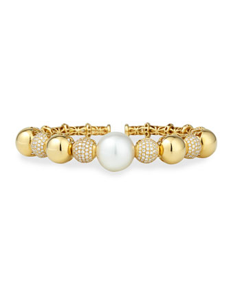 Yellow Gold South Sea Pearl Cuff with Diamonds