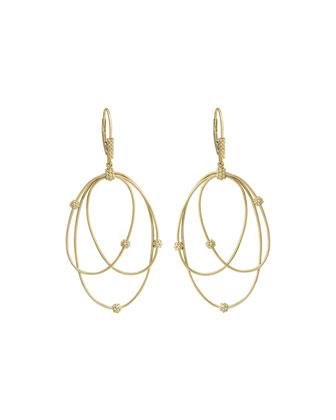 18k Gold Caviar Ball 3-Hoop Earrings