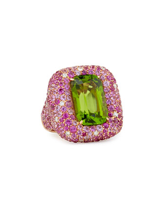 Pink Sapphire and Diamond Peridot Ring
