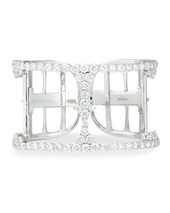 18k White Gold Open Diamond Cuff