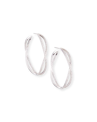 18k White Gold Crisscross Diamond Hoop Earrings