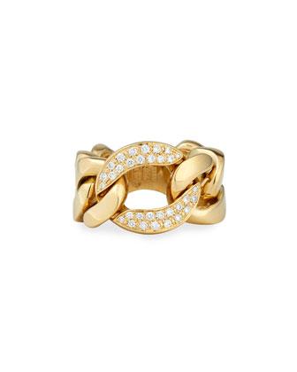 18k Gold Curb Chain Link Diamond Ring