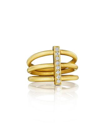 Moderne 18k Three-Row Diamond Bar Ring, Size 6.5