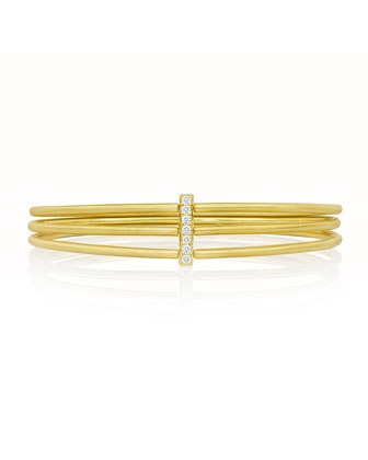 Moderne 18k Three-Row Bangle with Diamond Bar