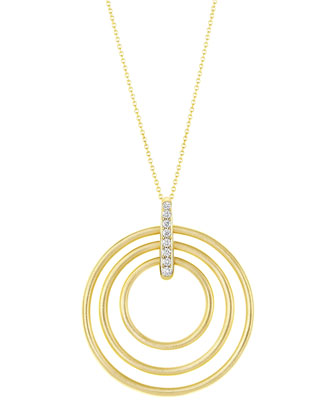 Moderne 18k Diamond Circle Pendant Necklace