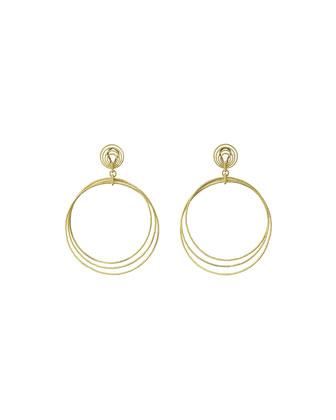 18k Gold Hawaii Circle Drop Earrings