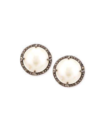 Pearl and Diamond Bezel Stud Earrings