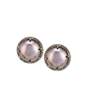 Dark Pearl and Diamond Bezel Stud Earrings