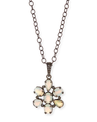 Opal Diamond Flower Pendant Necklace