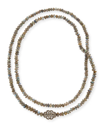Labradorite & Diamond Station Long Necklace, 45