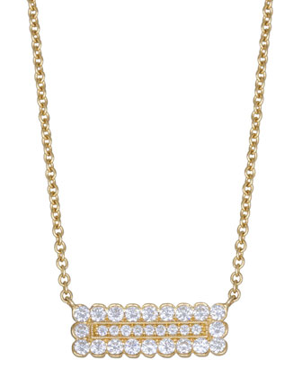 Medium Double Scallop Pave Diamond Rectangle Necklace