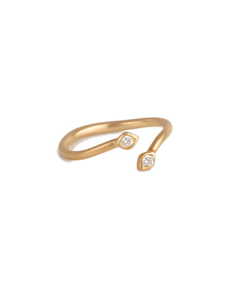 Arrow Ring with White Diamonds, Size 7