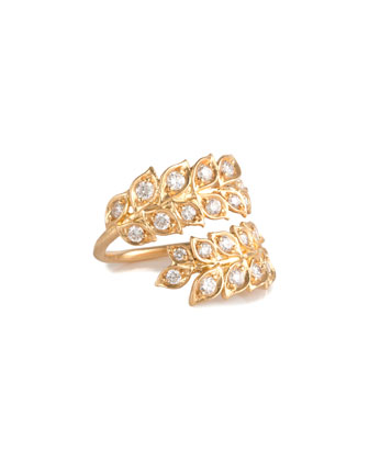 Wrapped Vine Ring with Diamonds, Size 7