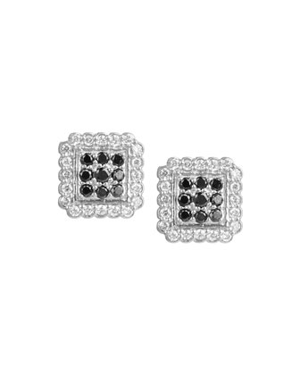 Petite Square Pave Diamond Stud Earrings