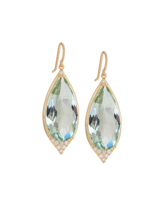 Green Amethyst Aladdin Point Earrings