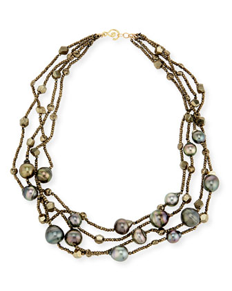 Pyrite and Tahitian Pearl 4-Strand Necklace