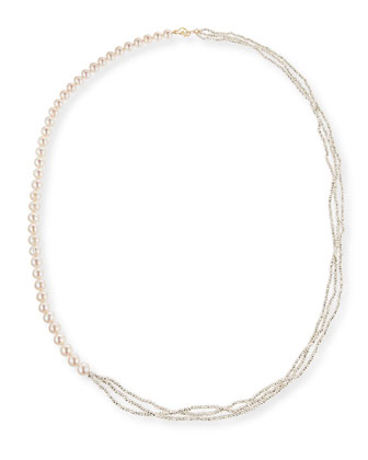 Freshwater Pearl and Pyrite Long Necklace, 34