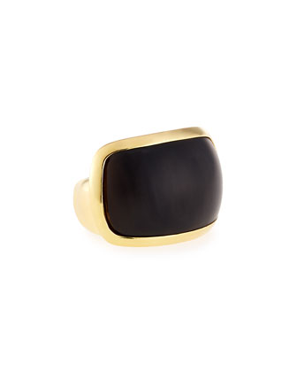 Signature Sculpt Black Horn Ring, Size 8