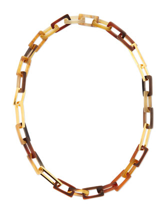 Horn and Gold-Plated Medium Link Necklace, 32