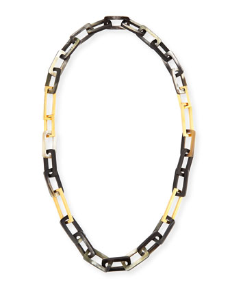 Horn and Gold-Plated Link Necklace