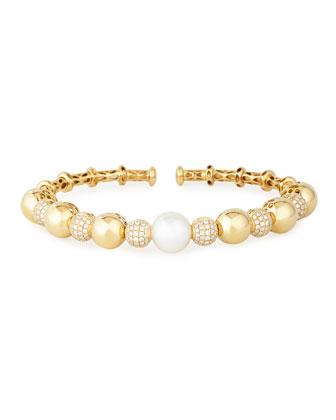 18k Yellow Gold South Sea Pearl & Diamond Bangle