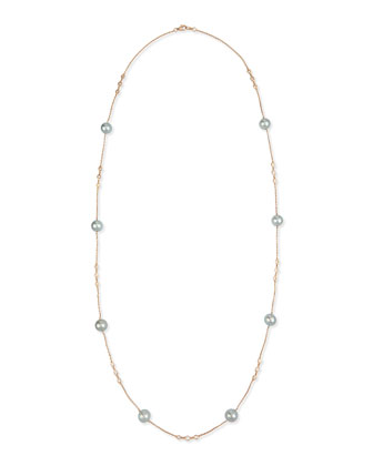 18k Rose Gold Tahitian Pearl & Diamond Necklace