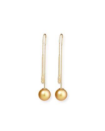 Yellow South Sea Pearl & White Diamond Threader Earrings