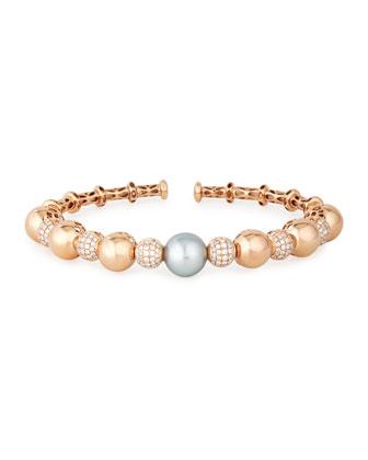 18k Rose Gold Tahitian Pearl & Diamond Bangle