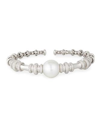 18k White Gold South Sea Pearl & Diamond Bangle