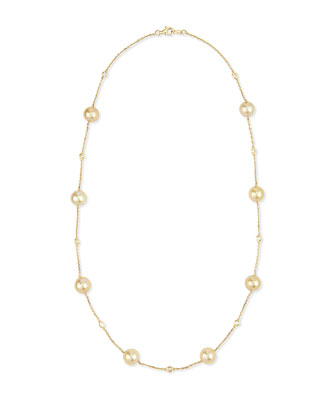 18k Gold Yellow South Sea Pearl & Diamond Necklace