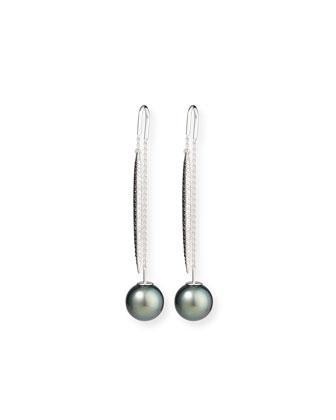 Tahitian Pearl & Diamond Threader Earrings