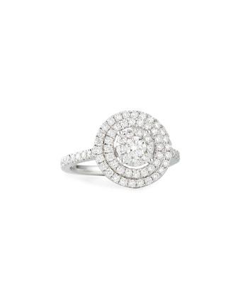 Bouquet 18k White Gold Round Diamond Ring, Size 6.5