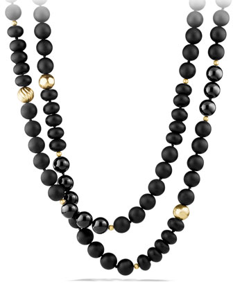 Black Onyx Necklace with 18k Gold