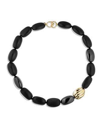 Black Onyx Necklace with Gold