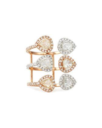 18k Rose & White Gold Diamond Triple-Shank Ring, Size 7