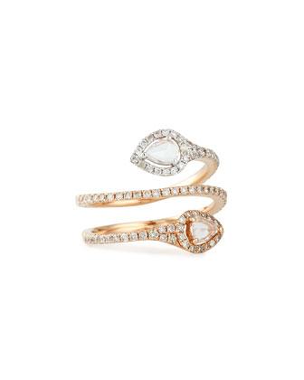 18k Rose Gold Coiled Diamond Snake Ring, Size 7