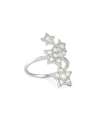 18k White Gold Diamond Star Ring, Size 7