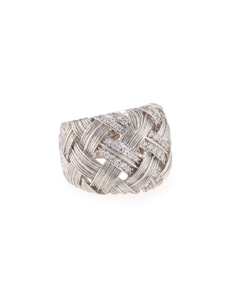Palm Woven Band Ring with Diamonds, Size 7