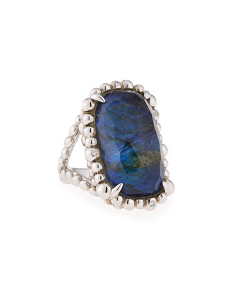 Molten Lapis & Labradorite Large Rectangle Ring, Size 7